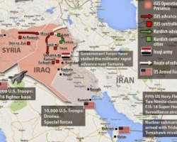 Map of Middle East with ISIS