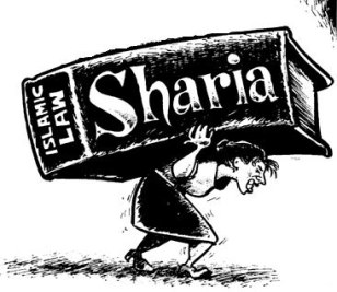 woman-straining-carrying-book-of-sharia-law