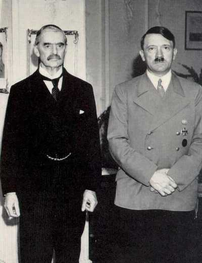 Neville Chamberlain and Adolf Hitler