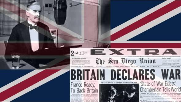 Neville Chamberlain declares war against Nazi Germany