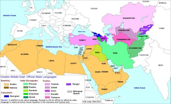 Middle Eastern official state languages