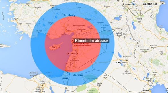 Range of the S-400 batteries in Syria