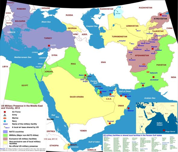 US military bases in the Middle East