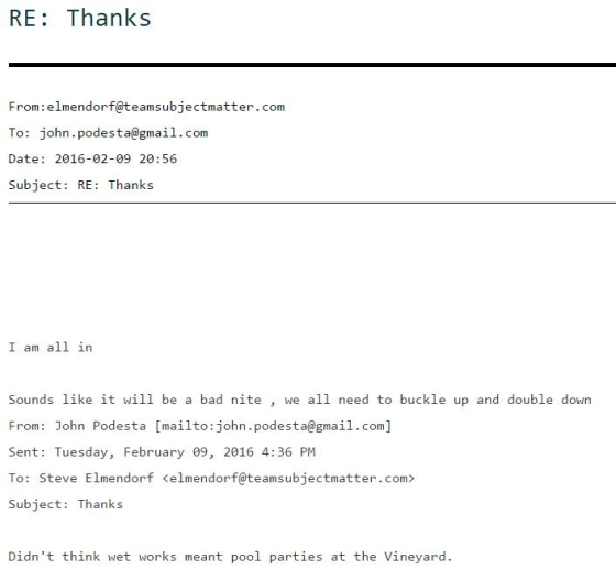 Scalia is added to the Clinton Dead Bodies list based on the following leaked email exchange between Hillary's campaign chairman John Podesta and DC lobbyist Steve Elmendorf, dated just three days prior to Scalia's suspicious death