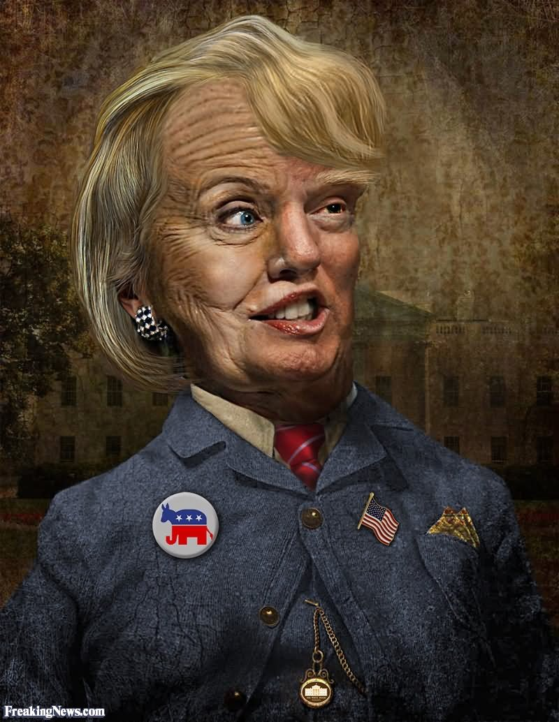 Funny-Hillary-Clinton-And-Donald-Trump-Merged-Together-Photoshop-Image