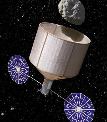 Illustration of an asteroid retrieval spacecraft in the process of capturing a 7-m, 500-ton asteroid. (Image Credit: Rick Sternbach / KISS)